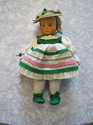 """Vintage Hand Carved Wooden Head German Girl Doll w/ Hat by Anna Fehrle ~9"""" tall"""