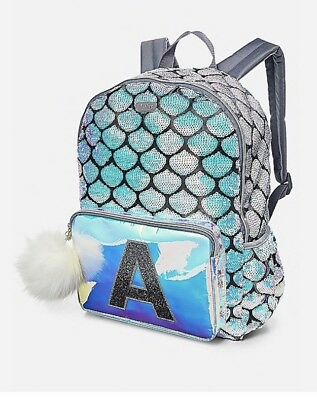 New Justice Mermaid Sequin Covered Backpack Glitter Initial ( S ) With Pompom