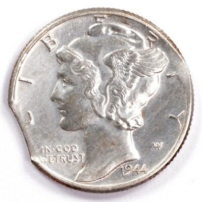 10c 1944 Mercury Dime 4% Curved Clipped AU Cleaned