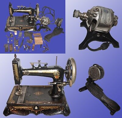 Early Electric Table Top  Sewing Machine W/ External Motor &cast Iron Foot Pedal