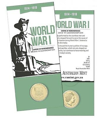 2014 $1 'M' Counterstamp Coin Shrine Of Remembrance World War 1 1914-1918 Ram