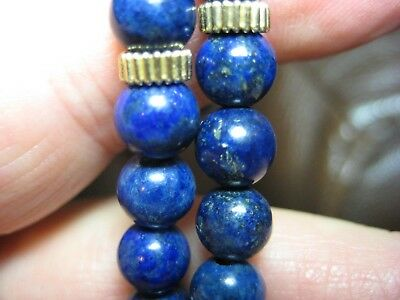 Vintage Solid 14K Gold Blue Lapis Lazuli Bead Necklace 18 Inches