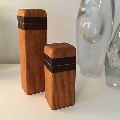 Mexican Modernist Don S. Shoemaker oak & rosewood salt pepper shakers / SeñalSA