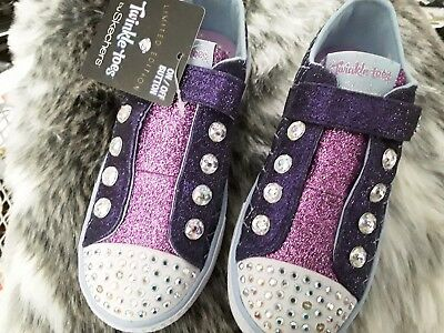 skechers twinkle toes shuffles - sparkly jewels  trainers uk size 11.5 no lights