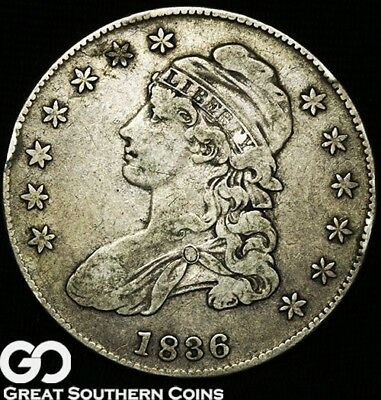 1836 Capped Bust Half Dollar, Early Date Silver Half