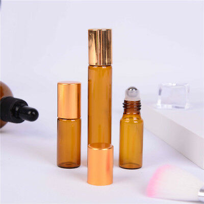 5/10ml Amber Roll On Glass Empty Bottles Roller Ball For  Perfume Essentials  Tw