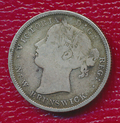 1864 New Brunswick Silver 20 Cent Double Dime **km #9 - .1382 Asw** Nice Toning