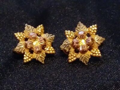 Vintage Black Hills Gold Clip on Earrings 2 Tone Yellow Gold & Rose Gold
