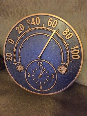 """Outdoor Thermometer Wall Clock Vintage CAST IRON Bronze Patio battery 14"""" 4 Lb."""
