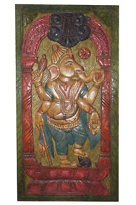 Antique Hand Carved Barn Door Panel Indian Ganesha Vintage Wall Decor CLEARANCE