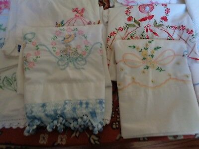 Lot Of *25* Vintage Hand Embroidered Crochet Pillowcases