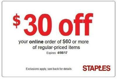 Staples $30 off $60  (reg priced) online 20 25 75  30 50 60 % coupon