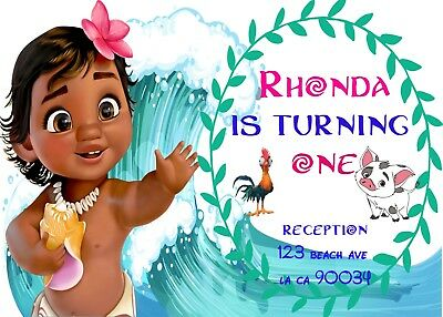 MOANA Birthday Party Invitations Personalized Custom