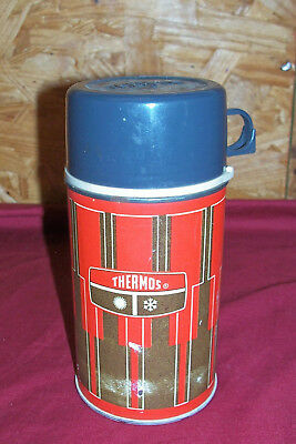 Old Thermos King Seeley Lunchbox Metal Lunch Pail Box Vintage Drink Plaid Bottle