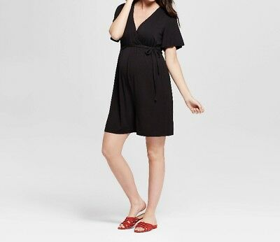 Isabel Maternity By Ingrid And Isabel Black Wrap Romper Size XXL