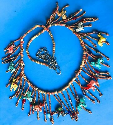 Antique Vintage Necklace Beaded Hand Carved Painted Wood Animals Folk Art 42'' L