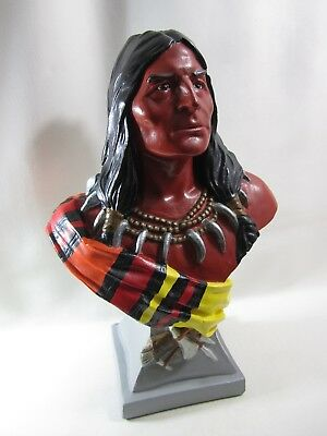 """Vintage Chalkware Cigar Store Native American Indian Statue Bust 19"""" Tall"""