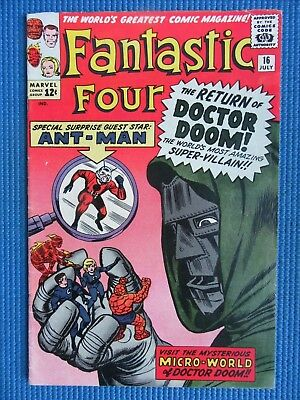 Fantastic Four # 16 - (Vf-) - 1St Ant-Man/dr Doom Crossover, Wasp - White Pages