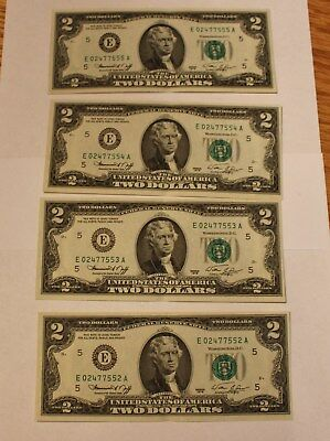 1976 Unc Two Dollar Bills / Four With Consecutive Numbers