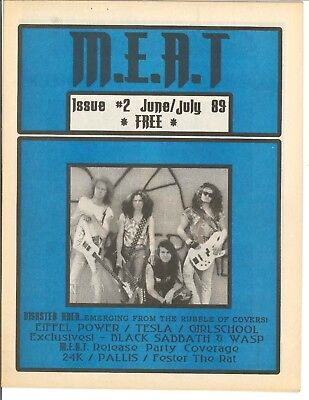 M.E.A.T Magazine July 1989 Disaster Area Issue #2 Tesla WASP Girlschool RARE CAN