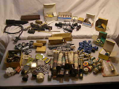 Huge Vintage Lot Electrical Electrician Components Fuses Switches Connectors