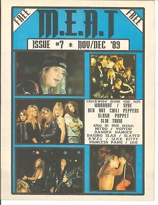 M.E.A.T Magazine December 1989 #7 Warrant Syre RHCP Slash Puppets Voivod Slayer