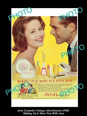 Large Historic Advertising Of Avon Cosmetics 1960, More Fun With Avon