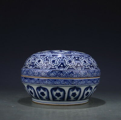 "8"" China old antique Porcelain Ming Xuande Blue & white lattices box"
