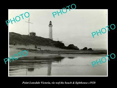 OLD LARGE HISTORIC PHOTO OF POINT LONSDALE VICTORIA, LIGHTHOUSE & BEACH c1920