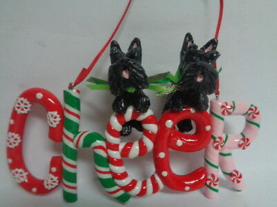 "HAND SCULPTED ART~~PAIR 2 BLACK SCOTTISH Terriers ""CHEER"" CHRISTMAS ORNAMENT~~"