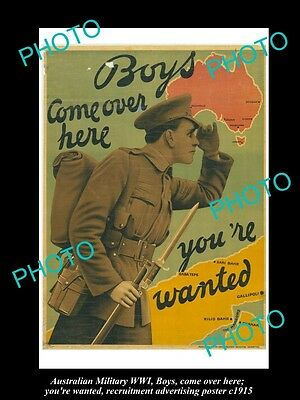 HISTORIC AUSTRALIAN ANZAC WWI MILITARY POSTER, BOYS, YOU ARE WANTED c1915