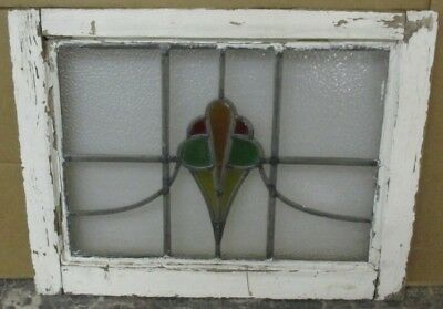 """MID SIZED OLD ENGLISH LEADED STAINED GLASS WINDOW Pretty Floral 24"""" x 19.75"""""""
