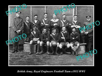 Old Large Historical Photo Of British Army, Royal Engineers Football Team 1915