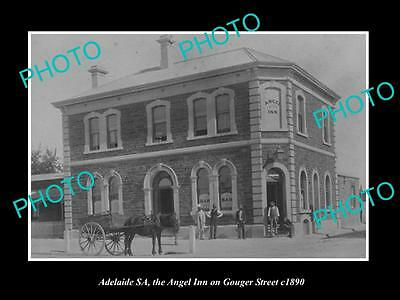 OLD LARGE HISTORIC PHOTO OF ADELAIDE SA, THE ANGEL INN HOTEL ON GOUGER St c1890