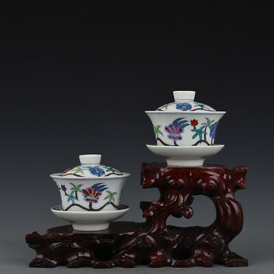 A Pair China antique Porcelain Ming Chenghua famille rose Okra cover Cup