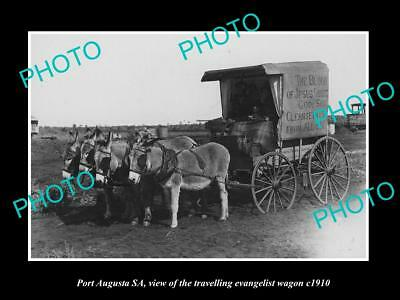 Old Large Historic Photo Of Port Augusta Sa, The Traveling Evangelist Wagon 1910