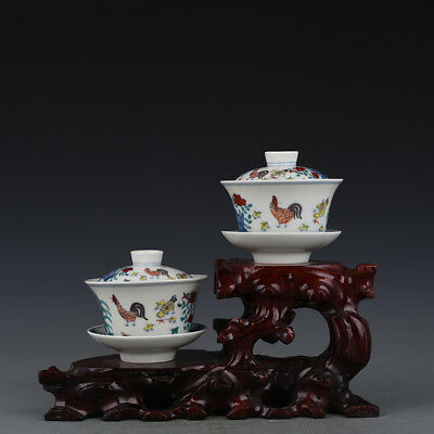 A Pair China old antique Porcelain Ming Chenghua famille rose chicken cover Cup