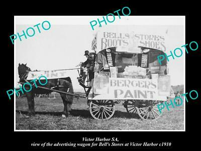 OLD LARGE HISTORIC PHOTO OF VICTOR HARBOR SA, THE BELLS STORE WAGON c1910