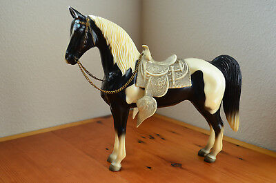Vintage BREYER horse model black and white pinto with saddle Glossy