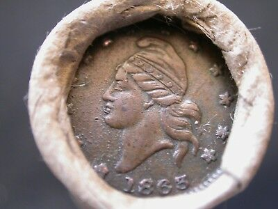 Unsearched Wheat Penny Roll /1863 Civil War Token Lady Liberty & Indian head end
