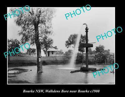 OLD LARGE HISTORIC PHOTO OF BOURKE NSW, WALKDENS BORE c1900