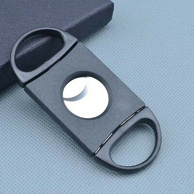 1PCS Plastic Handle Black Stainless Steel 2 Blade Pocket Cigar Cutter Scissors