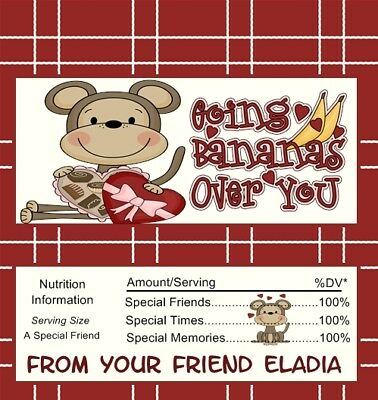 25 Personalized Valentines Style 2 Candy Bar Wrappers