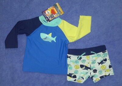 2 Piece Swim Set Blue Shark RASHIE, TRUNK  Size 0  BNWTs UPF 50+