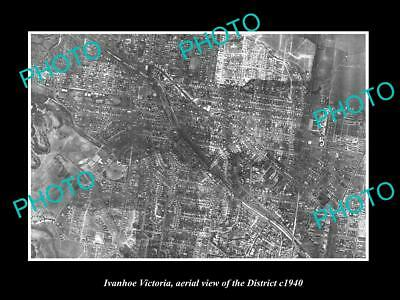 OLD LARGE HISTORIC PHOTO OF MELBOURNE VICTORIA, AERIAL VIEW OF IVANHOE c1940
