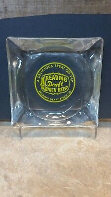 1950's Reading Draft Birch Beer Cigarette Ashtray Reverse Painted Glass PA