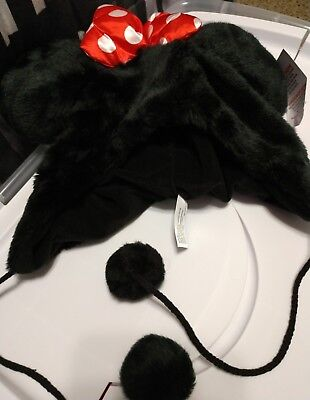 Authentic Disney Parks Minnie Mouse Ears Soft Fuzzy Plush Hat With Bow Adult New