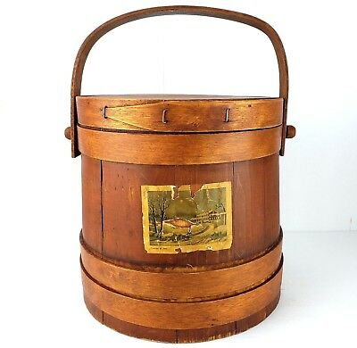 Primitive Antique 19th c. Currier & Ives Wood Firkin Sugar Bucket w/ Lid Handle
