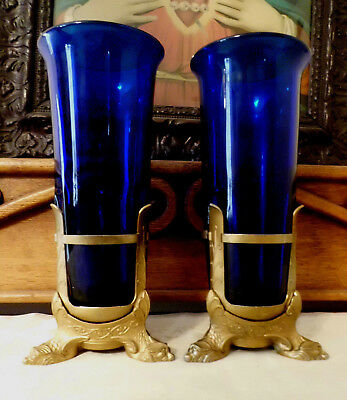 Pair Antique Vtg Heavy Ornate Dolphin Church Altar Sanctuary Lamp Candelholder C