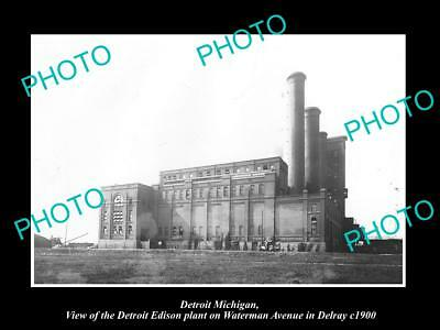 OLD LARGE HISTORIC PHOTO OF DETROIT MICHIGAN, THE EDISON PLANT IN DELRAY c1900